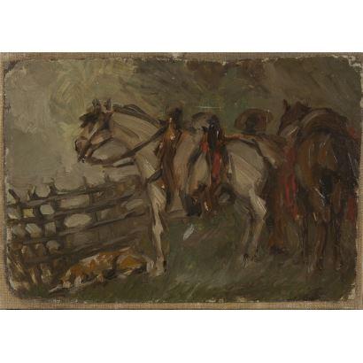 Estudio de caballos realizado al óleo sobre lienzo pegado a otro lienzo de mayor tamaño. Medida: 20x27cm.