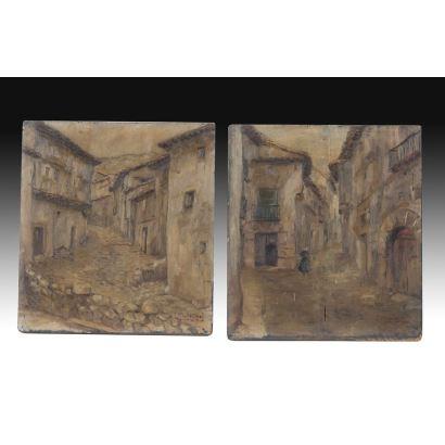 Pareja de tablas españolas, circa 1900.