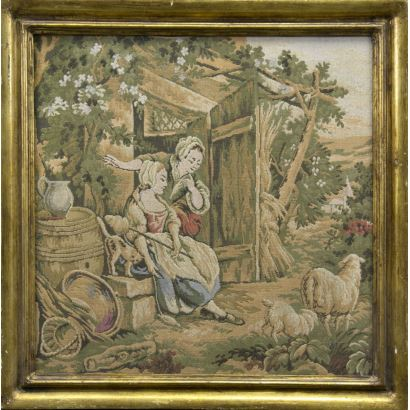 Alfombras y Tapices. Panel textil, circa 1900.