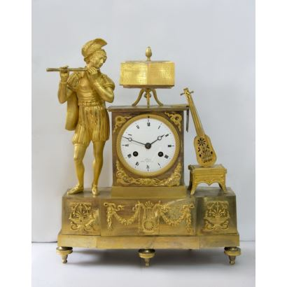 Reloj de sobremesa estilo Imperio, Francia, S. XIX.