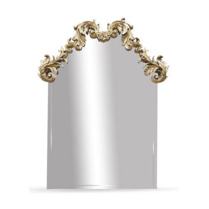Espejos y marcos. Gran espejo rectangular con decoración en madera tallada y dorada, siglo XX.