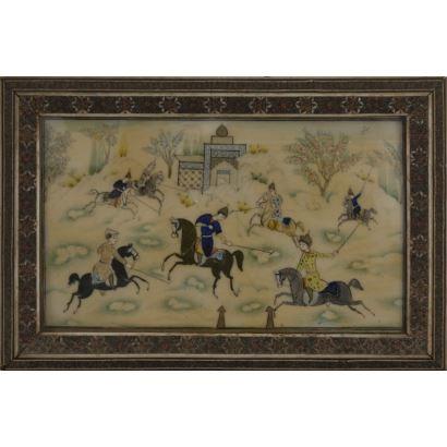 Placa de marfil pintada, siglo XX.