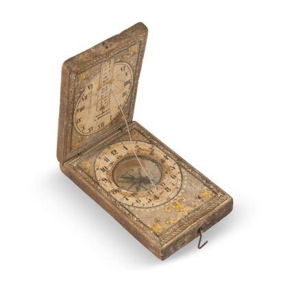 Brújula y reloj  de sol de faltriquera, Finales S.XVIII. Alemania.