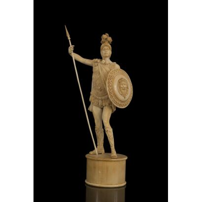 Magnificent ivory sculpture depicting a Roman soldier or legionary. It stands on a smooth and cylindrical pedestal of the same ivory. Height: 38 cm (with Cites certificate)