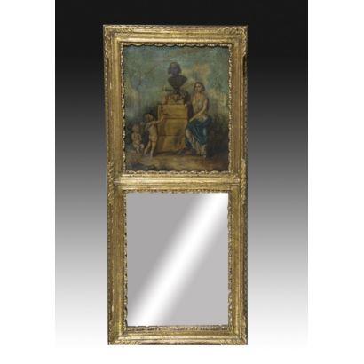 Boiserie con pintura y espejo, h. 1890.