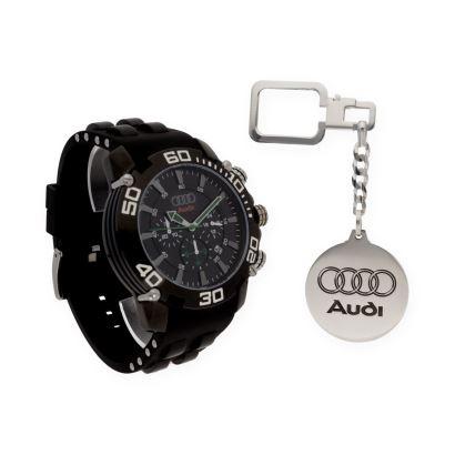 Conjunto de Reloj y llavero modelo Audi.