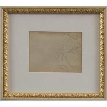"""MEIFRÉN Y ROIG, Eliseo (Barcelona, 1859-1940). Pencil drawing on paper. """"Composition"""". 25x22cm s / m 10x12,5cm."""