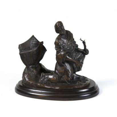 Grupo en bronce pavonado, S. XX.