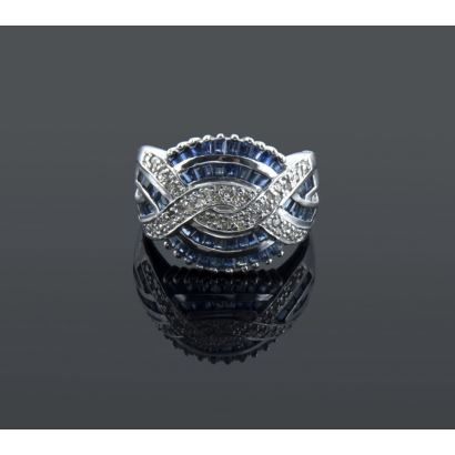 Ring with sapphires and diamonds.