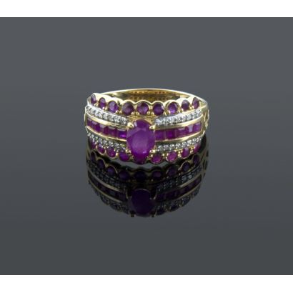 Ring with various rubies and diamonds.