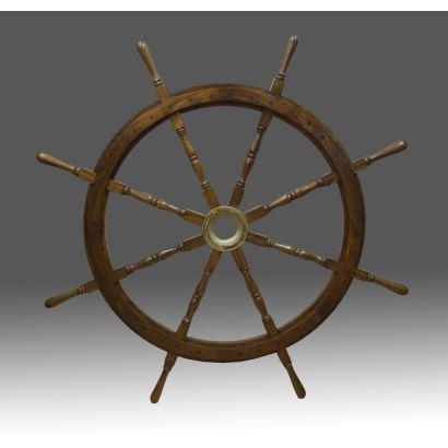 Timón de barco decorativo realizado en madera. Medidas: 125x125x5cm.