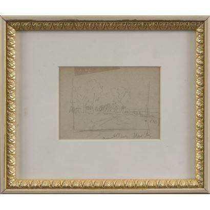MEIFRÉN Y ROIG, Eliseo (1859-1940). Dibujo a lápiz sobre papel.