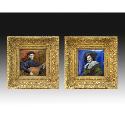 Pareja de esmaltes, Limoges, S. XIX