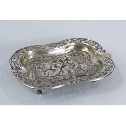 Silver. Spanish silver ashtray, S. XX.