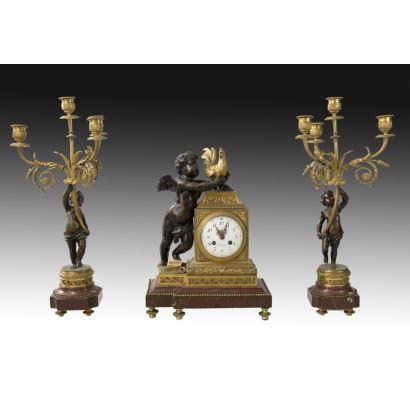 Reloj de sobremesa estilo Luis XVI, ffs, XIX.