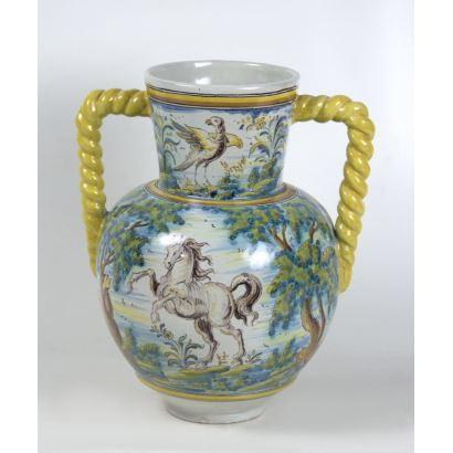 Jarra en cerámica de Talavera, S. XX.
