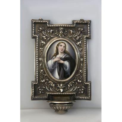 Benditera en plata y porcelana, S. XIX
