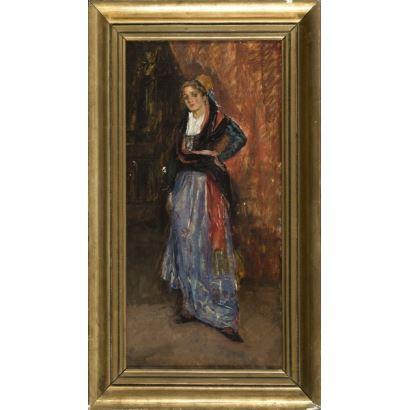 "19th century painting. Oil on panel. 19th century ""Female portrait."" 57x33cm s / m 51x24cm."