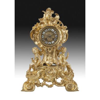 Reloj de sobremesa, estilo Luis XV, fin S. XIX.