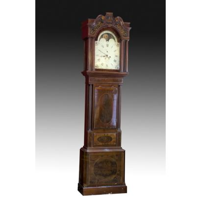 English tall case clock, 19th century.