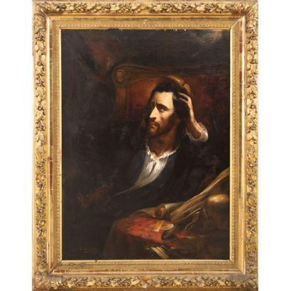 "19th century painting. CASANOVA, Lorenzo (Alcoy, 1844-Alicante, 1900). Oil on canvas. ""Character"". Framing. Measures: 153x120cm."