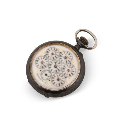 Pocket watch with world time. In running state. Measures: 5.5 cm diameter.