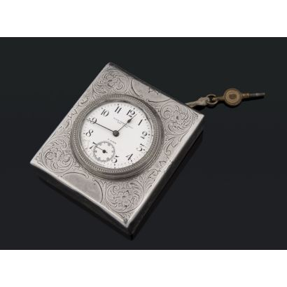 In silver box with engraved decoration. 8 days rope. With key. In running state. Sphere damage. Starting price: 7.5 x 6.5 cm.