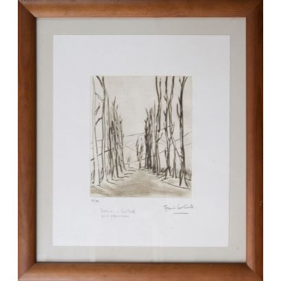 """THE CUTS, Francis. Etching numbered 18/20, dedicated in lower left corner. 1999. """"Trees"""". With certificate Measures: 51x45cm."""