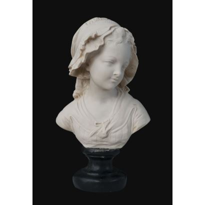"Bust carved in marble on base. French school ""Bust of girl"". Signed. Measures: 46x22cm."