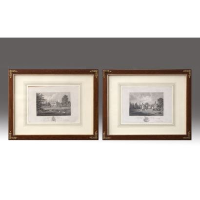 """Pair of black and white prints. English school, 19th century. """"Hill Field"""", """"Chevenage House"""". Measures: 30x38cm."""