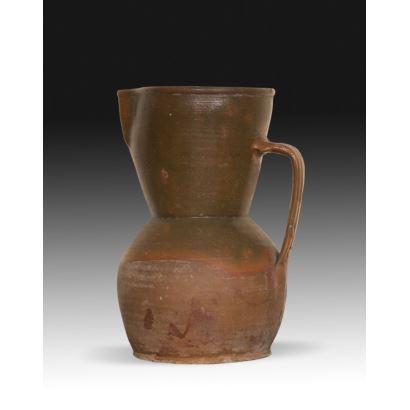 Jug in popular ceramics, circa 1900.