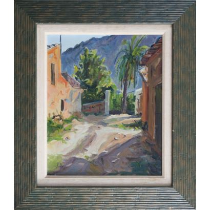 "GALINDO, José Luis (Valencia, 1950). Oil on tablet. ""Landscape"". Signature in lower left corner. Measures: 38x46cm c / m 59x67,5cm."