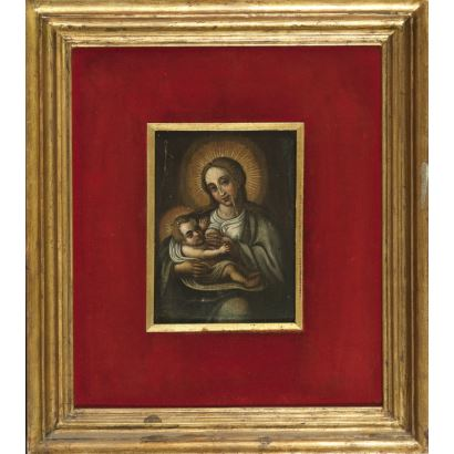 Óleo sobre tabla. circa Siglo XVIII. Virgen de la leche con niño. 17.5x12.5cm / con marco 38.5x34cm