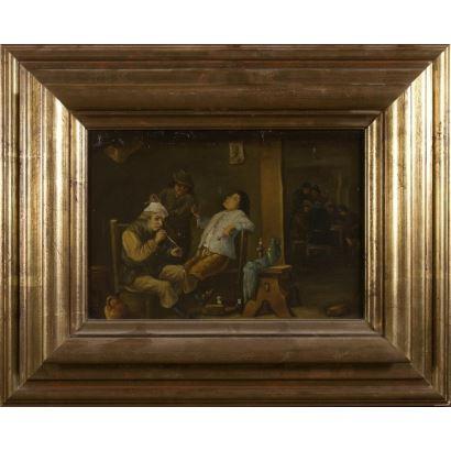 "Oil on canvas. ""Tavern Interior"". 44x54,5cm s / m 25x35cm."