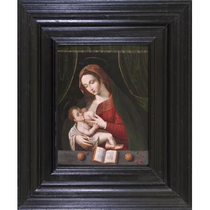 "Oil on panel. ""Virgin of the milk"". Copy of painter belonging to the circle of Joos van Cleve (1485-1541). Measures: 66x50,5cm c / m 108x93cm."