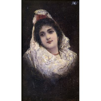 Pintura del siglo XIX. INÉS FLOREZ I FONVIELLE (París, c. 1865 – Palma de Mallorca, 1935).