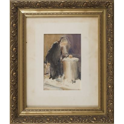 "SOLIS, Julio. Asturian school. Watercolor ""Woman in a well"" Signed and dated 1976. 51x43cm / 24x16cm"