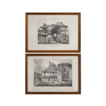 Pair of French lithographs, S. XIX.