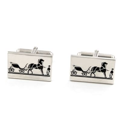 Silver cufflinks with Greek motif