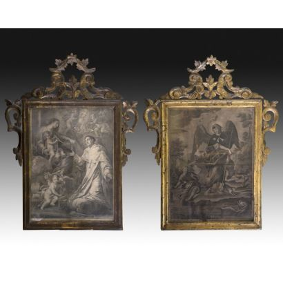 Pair of religious engravings, second half of the s. XVIII.