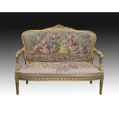 Muebles. Sofá estilo Luis XVI.