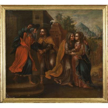 "Oil on canvas. Spanish school XVII century. ""Visitation of Mary to Santa Isabel"". Measures: 83x92cm c / m 91x100cm."