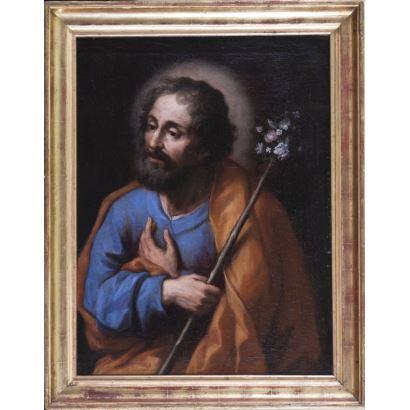 "Oil on canvas. ""San José with florida stick on neutral background"". Measures: 65x49,5cm c / m 75,5x59,5cm."