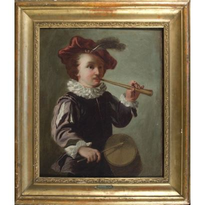 """Oil on canvas. """"Character playing flute and drum"""". 64x73cm s / m 46x56cm. Late 17th Century ppios XVIII, Dutch School"""