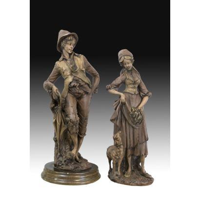 Pair of terracotta sculptures, pps. XX.
