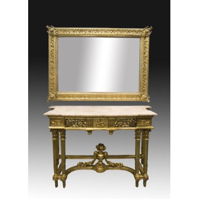 Console and mirror Louis XVI style, ppios. S. XX.