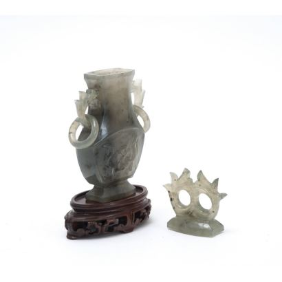 Objects. Figure carved in jade on wooden base. China, 20th century