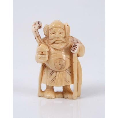 "Netsuke carved in ivory. ""Zhongli Quan."" Measures: 5x3cm."