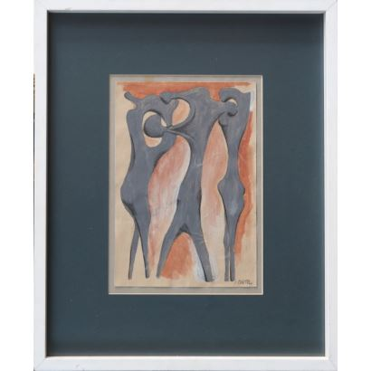 """PÉREZ CONTEL, Rafael (Villar del Arzobispo, 1909-Valencia, 1990). Gouache and charcoal on paper. """"Figures."""" Signed in lower right and back corner: P.CONTEL. Dated on reverse: 1929. Measures: 30.5x21cm c / m 55.5x45.5cm."""