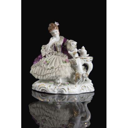 Porcelana. Grupo en porcelana alemana, pps. XX.